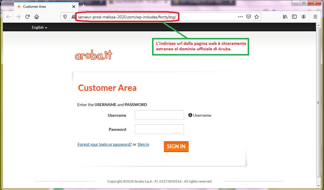 Clicca per ingrandire l'immagine del FALSO sito internet di Aruba, che cerca di rubare le credenziali di accesso ai servizi di Aruba.