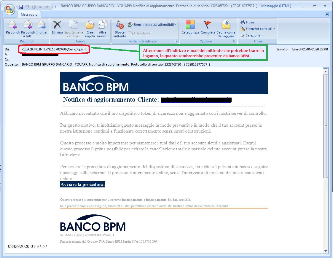 Clicca per ingrandire l'immagine della falsa e-mail di Banco BPM, che cerca di indurre il ricevente a cliccare sui link per rubare le credenziali di accesso al suo account.