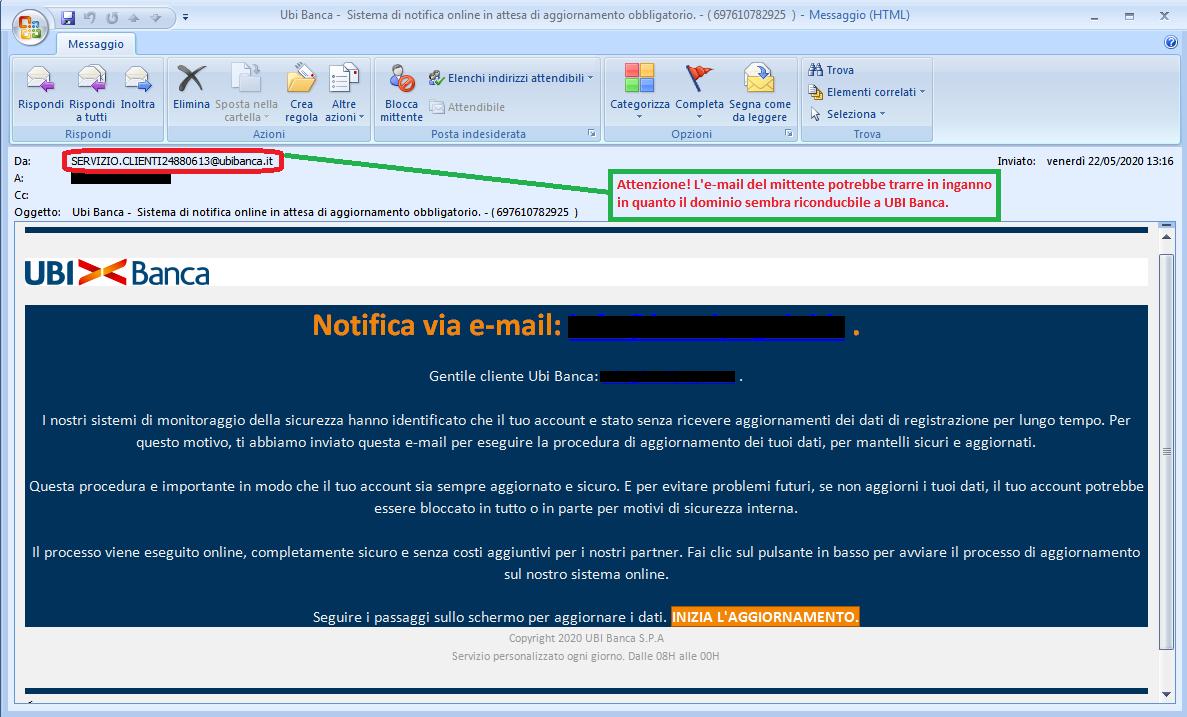 Clicca per ingrandire l'immagine della falsa e-mail di UBI Banca, che cerca di indurre il ricevente a cliccare sui link per rubare le credenziali di accesso al suo account.