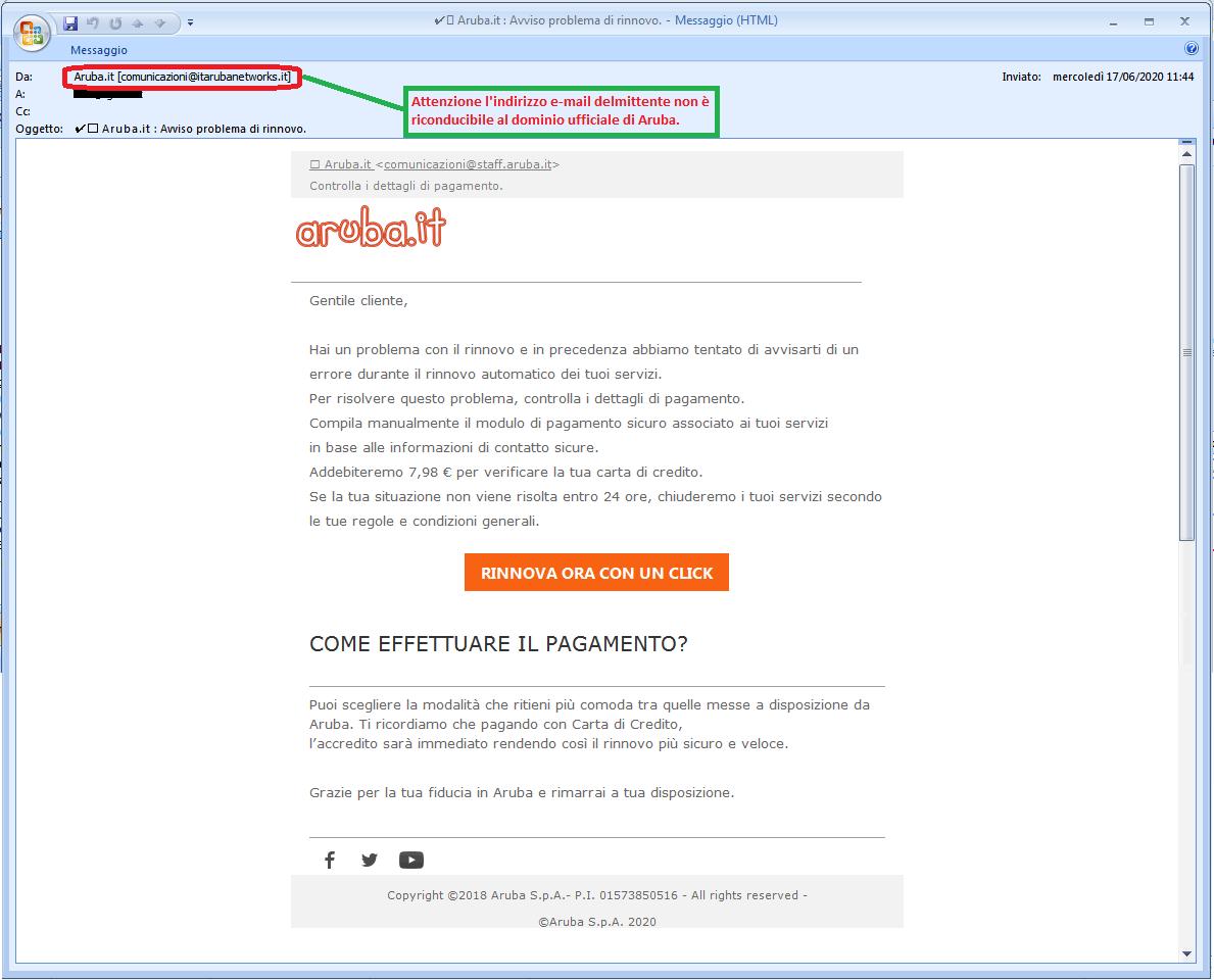 Clicca per ingrandire l'immagine della falsa e-mail di Aruba che comunica un problema di fatturazione ma in realtà è una TRUFFA!