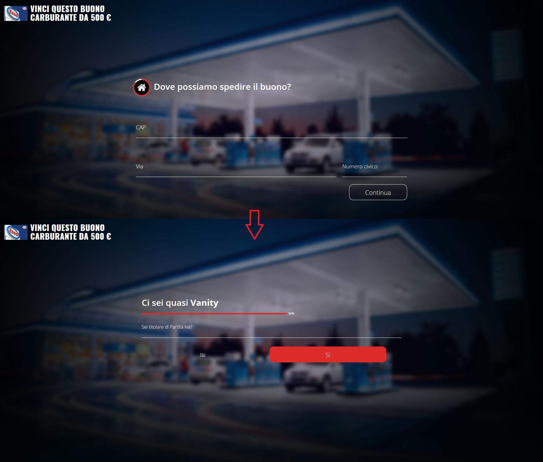 Clicca per ingrandire l'immagine del sondaggio da completare per provare a vincere un buono carburante ESSO del valore di 500 Euro ma che in realtà è una TRUFFA!