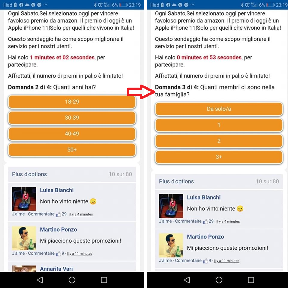 Clicca per ingrandire l'immagine del sondaggio che richiede di inserire i dati personali dell'utente per vincere il suo iPhone 11...