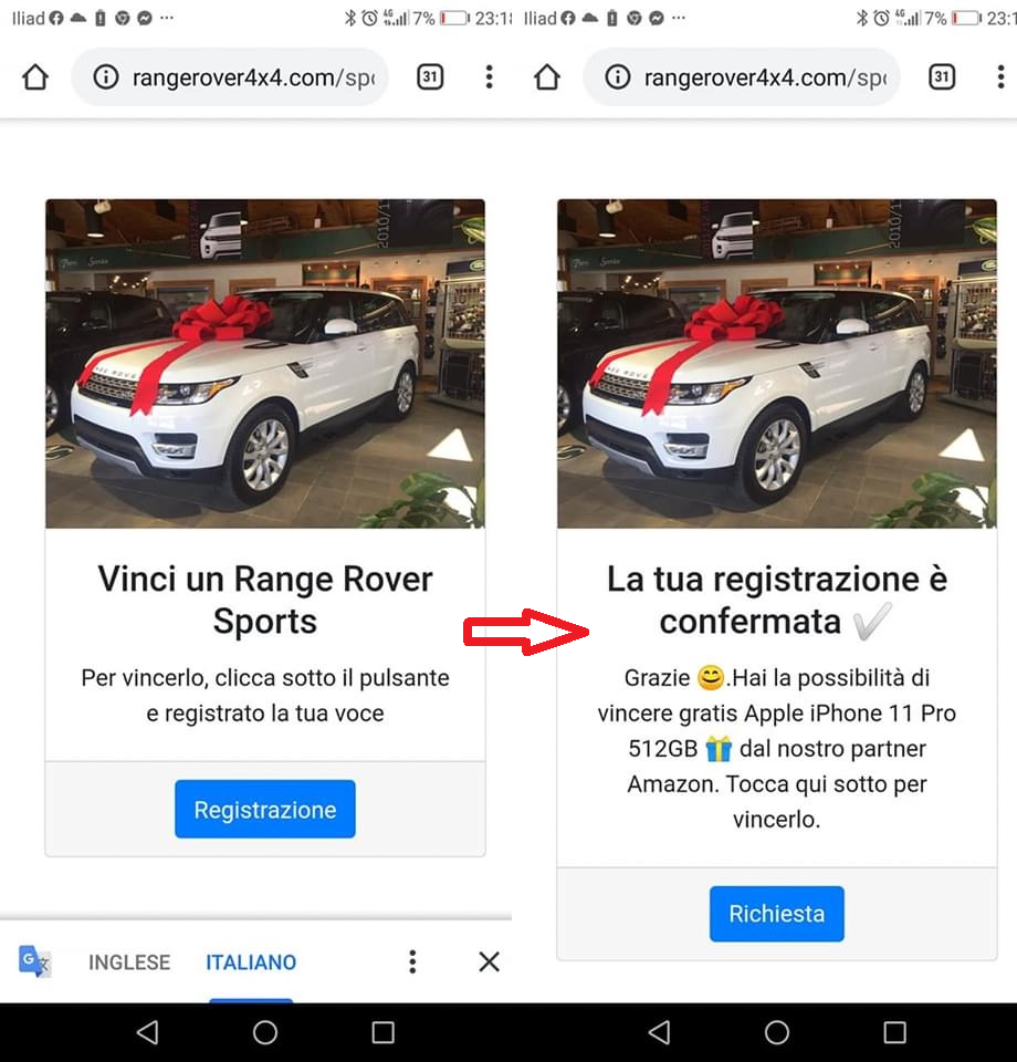 Clicca per ingrandire l'immagine del FALSO messaggio promozionale che invita l'utente a giocare per poter vincere un Range Rover Sports,  ma che in realtà si tratta di una TRUFFA!
