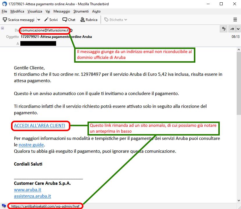 Clicca per ingrandire l'immagine della falsa e-mail di Aruba che ammonisce l'utente su un pagamento non effettuato ma che in realtà è una TRUFFA!