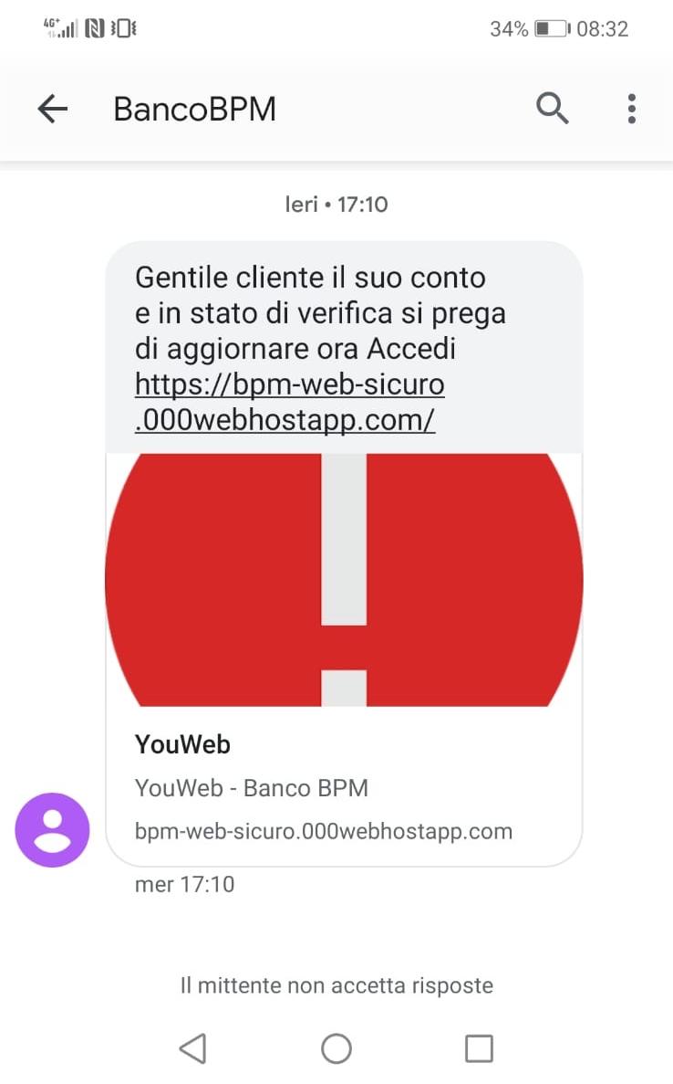 Clicca per ingrandire l'immagine del falso sms giusto da Banco BPM che cerca di indurre il ricevente a cliccare sui link per rubare le credenziali di accesso a suo conto corrente.t.