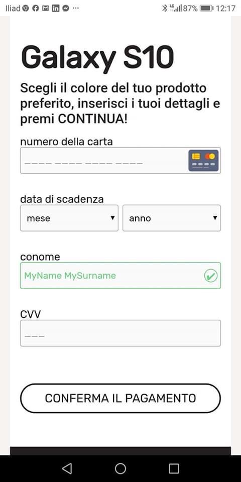 Clicca per ingrandire l'immagine della videata in cui vengono richieste le credenziali della carta di credito per procedere al pagamento di 2,95 Euro.