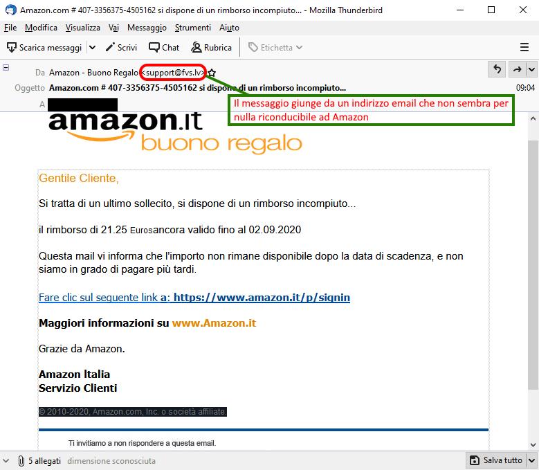 Clicca per ingrandire l'immagine del falso messaggio giunto via mail apparentemente da AMAZON che informa l'ignaro ricevente di un rimborso pendente ma che in realtà si tratta di una TRUFFA!