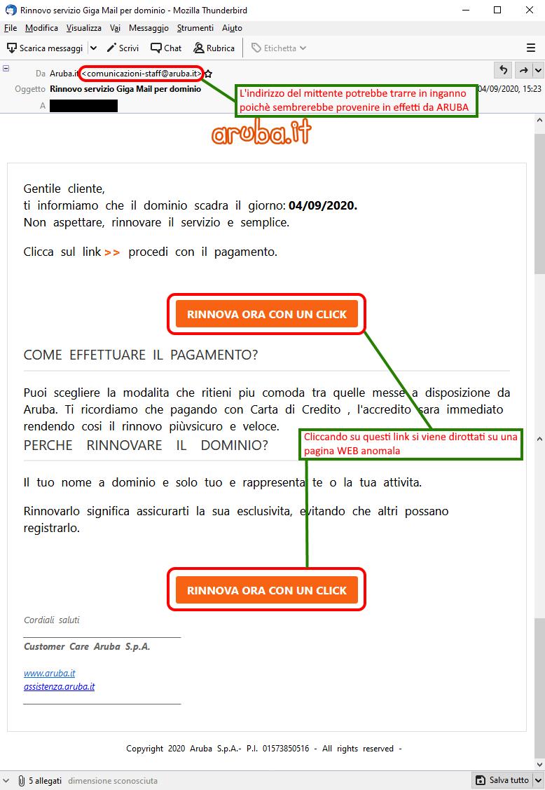 Clicca per ingrandire l'immagine della falsa e-mail di Aruba che avverte l'utente della prossima scadenza del dominio ma che in realtà è una TRUFFA!