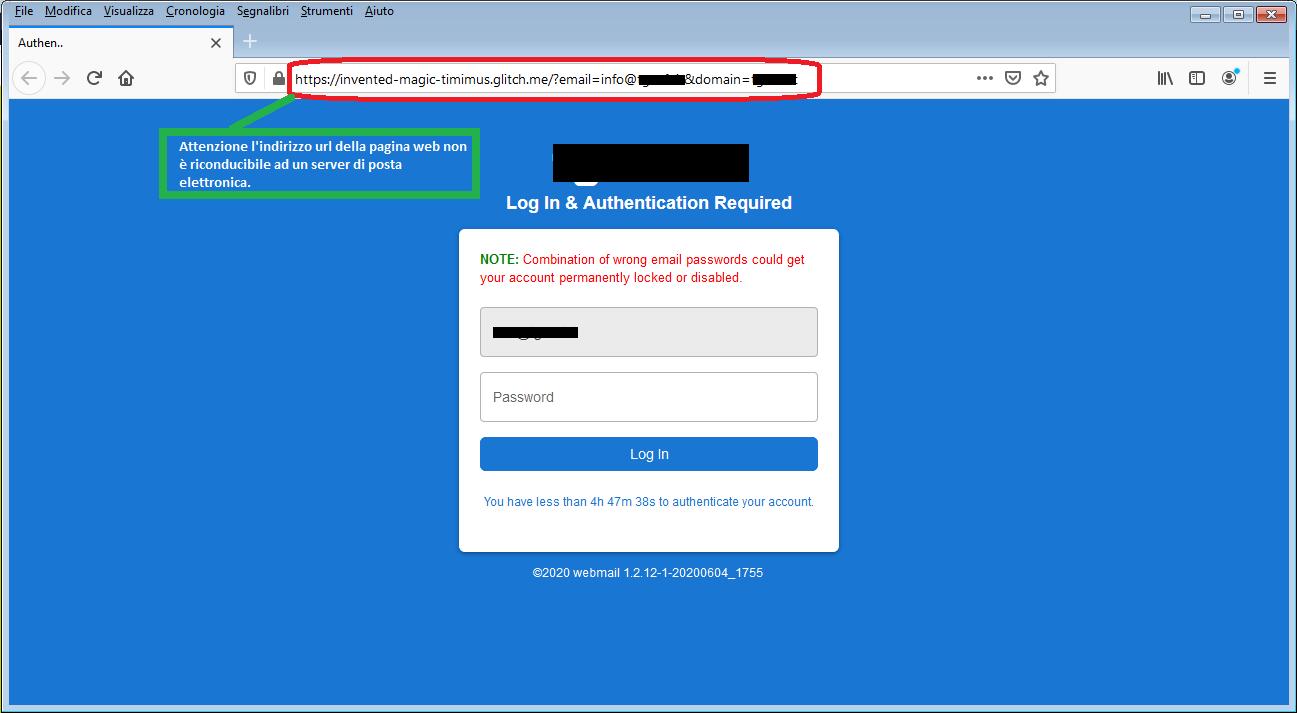 Clicca per ingrandire l'immagine del falso sito dell'account di posta elettronica, che cerca di rubare le credenziali di accesso all'account..
