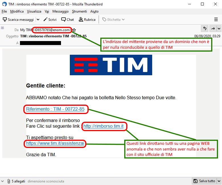 Clicca per ingrandire l'immagine del falso messaggio giunto via mail apparentemente da TIM che informa l'ignaro ricevente di un rimborso pendente ma che in realtà si tratta di una TRUFFA!