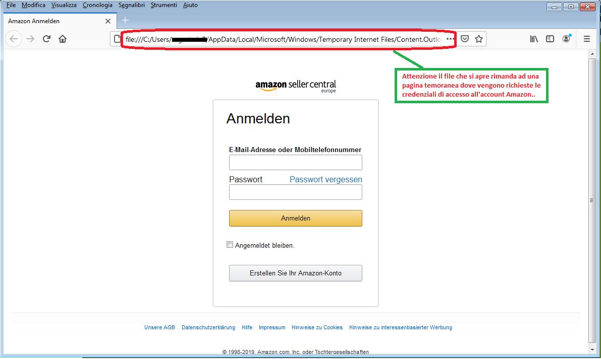 Clicca per ingrandire l'immagine della FALSA pagina di Amazon, che cerca di indurre il ricevente a inserire le credenziali di accesso all'account...