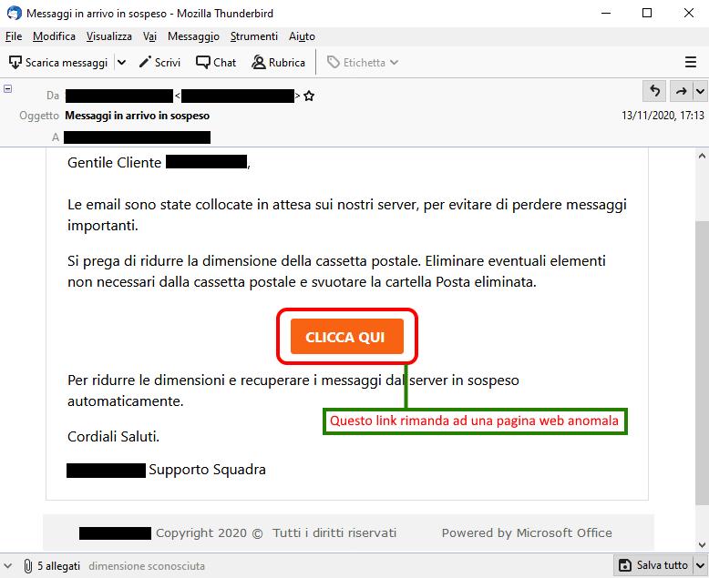 Clicca per ingrandire l'immagine della falsa e-mail di Aruba che comunica che ci sono dei messaggi in arrivo in sospeso e come recuperarli per non perderli,  ma che in realtà è una TRUFFA!