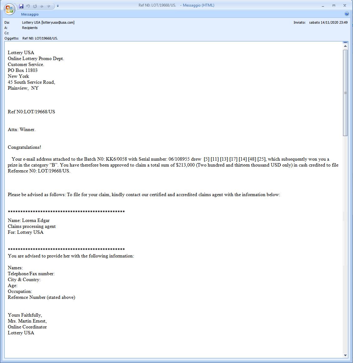 Clicca per ingrandire l'immagine della falsa e-mail di una presunta vincita della Lotteria USA,  ma che in realtà è una TRUFFA!