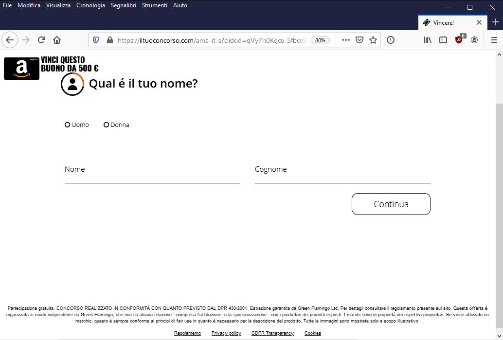 Clicca per ingrandire l'immagine del FALSO sito di Amazon che invita l'utente a giocare per poter vincere un buono da 500€,  ma che in realtà si tratta di una TRUFFA!