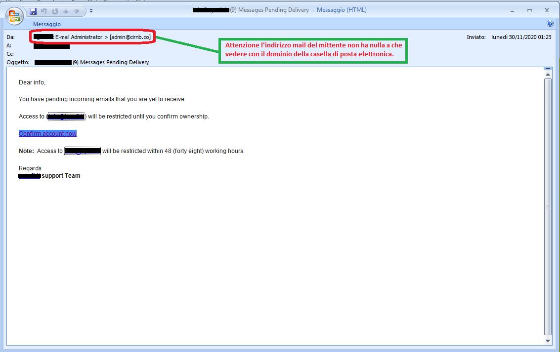 Clicca per ingrandire l'immagine della falsa e-mail dell'amministratore dell'account di posta elettronica, che cerca di indurre il ricevente a cliccare sui link per rubare le credenziali di accesso all'account.