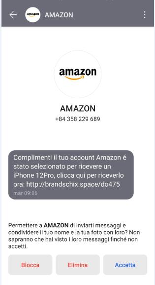 Clicca per ingrandire l'immagine del falso sms giusto da Amazon che informa della possibilità di vincere un iPhone 12Pro ma che in realtà è una TRUFFA!