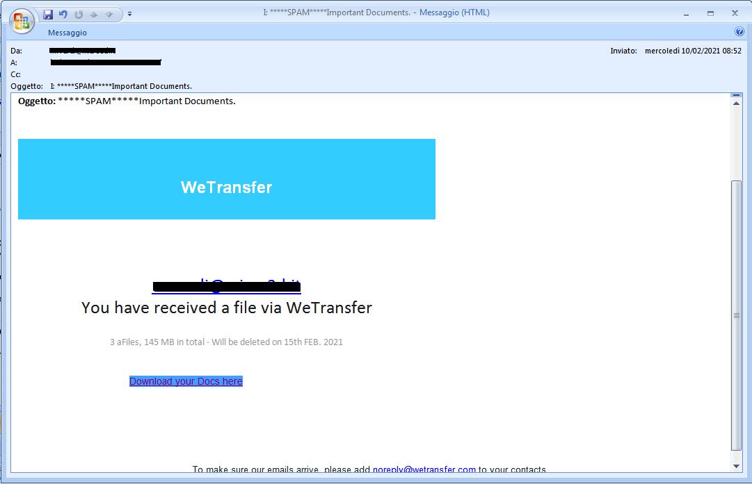 Clicca per ingrandire l'immagine della falsa e-mail di WeTransfer che cerca di rubare le credenziali della casella di posta elettronica.