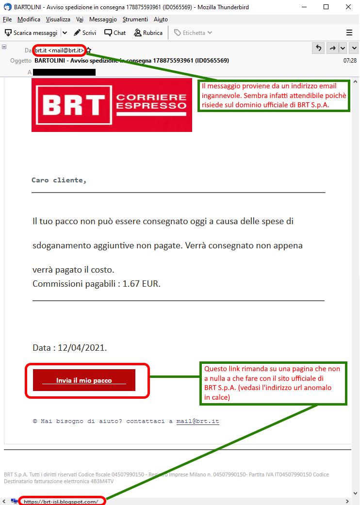Clicca per ingrandire l'immagine della falsa e-mail di BRT che cerca di rubare le credenziali della carta di credito dell'ignaro ricevente, attenzione alle TRUFFE!