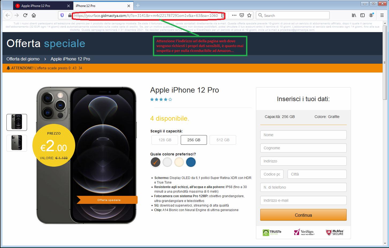 Clicca per ingrandire l'immagine della falsa pagina web di Amazon, dove vengono richiesti i propri dati per vincere un iPhone 11 Pro!