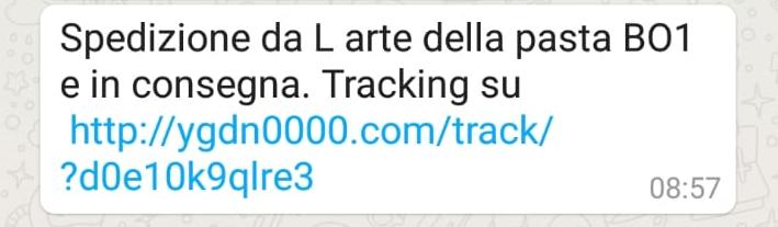 Clicca per ingrandire l'immagine del falso sms giunto da Amazon che informa che il tuo ordine è in consegna, e che puoi seguire il tracking...in realtà si tratta di  una TRUFFA!