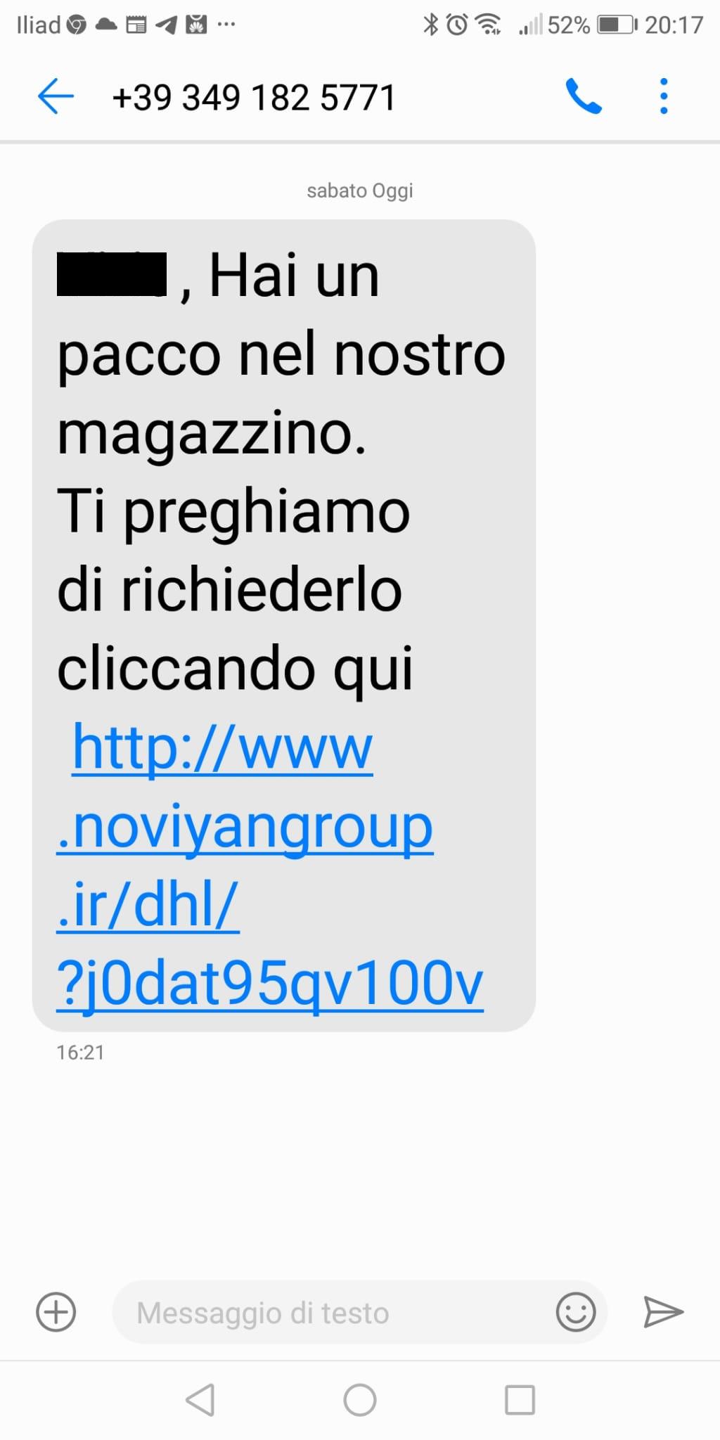 Clicca per ingrandire l'immagine del falso sms che informa che il tuo pacco è nel magazzino e che puoi richiedere la consegna...in realtà si tratta di  una TRUFFA!