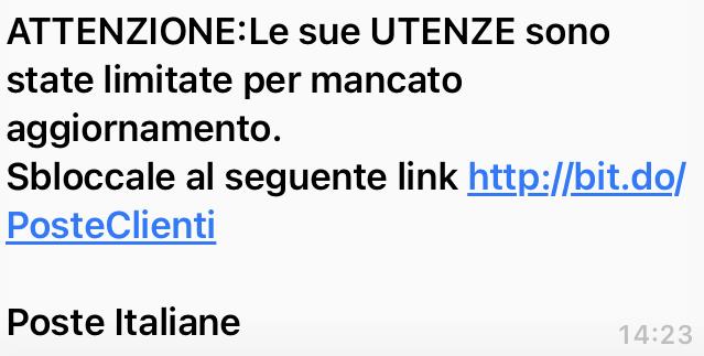 Clicca per ingrandire l'immagine del falso sms che informa che è necessario un aggiornamento dell'account di Poste Italiane...ma in realtà si tratta di una TRUFFA!