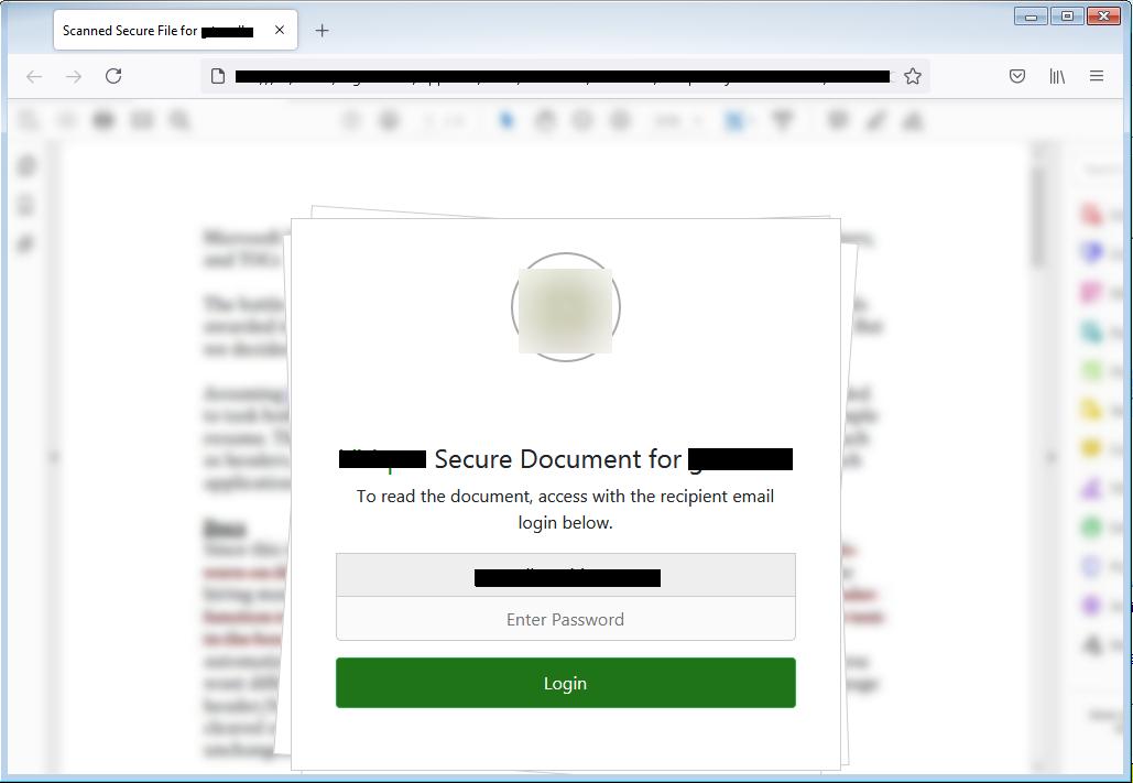 Clicca per ingrandire l'immagine del file allegato all'e-mail, che simula la login di accesso all'account di posta elettronica, per rubare le credenziali di accesso..