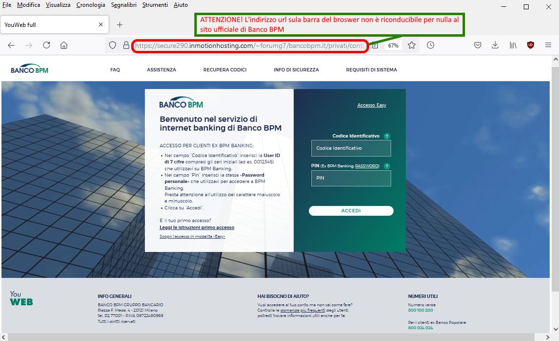 Clicca per ingrandire l'immagine del FALSO sito internet di Banco BPM, che cerca di indurre il ricevente a inserire le credenziali del suo conto corrente online