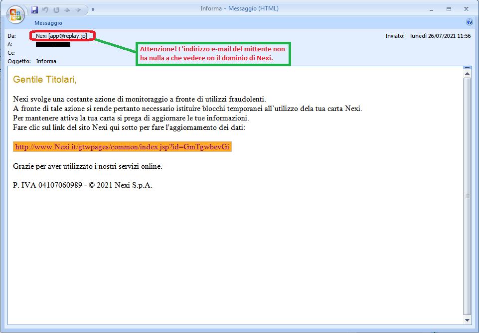 Clicca per ingrandire l'immagine della falsa e-mail di NEXI che cerca di rubare i codici della carta di credito dell'ignaro ricevente.