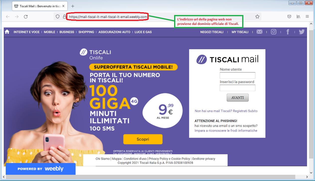 Clicca per ingrandire l'immagine del falso sito di Tiscali, che cerca di rubare le credenziali di accesso all'account..