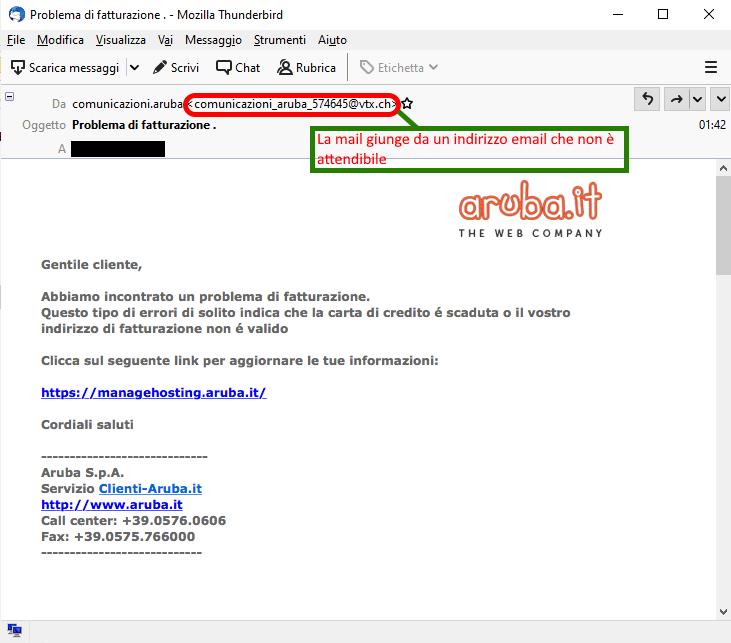 Clicca per ingrandire l'immagine della falsa e-mail di Aruba che informa della prossima scadenza del dominio collegato all'account di posta ma che in realtà è una TRUFFA!