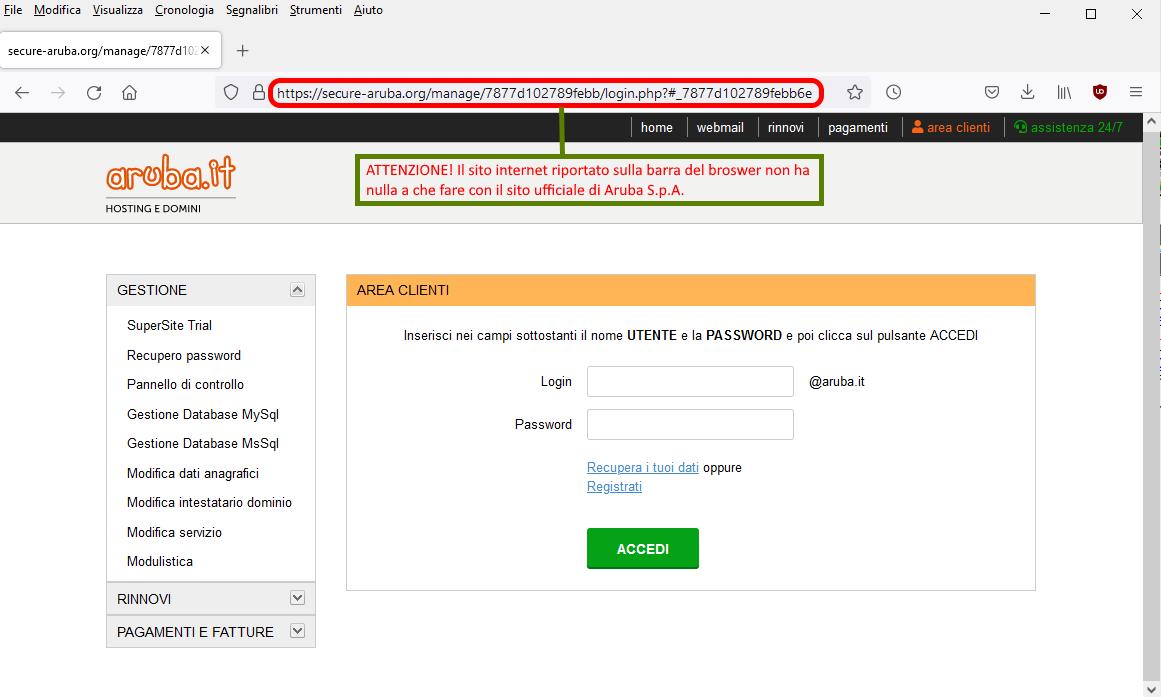 Clicca per ingrandire l'immagine del falso sito web di Aruba, che simula la login di accesso all'account di posta elettronica, per rubare le credenziali di accesso..