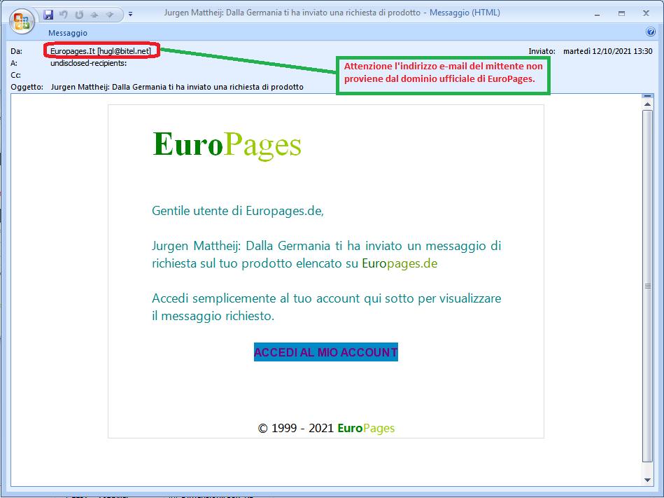 Clicca per ingrandire l'immagine della falsa e-mail di EuroPages, che cerca di indurre il ricevente a cliccare sui link per rubare le credenziali di accesso all'account.