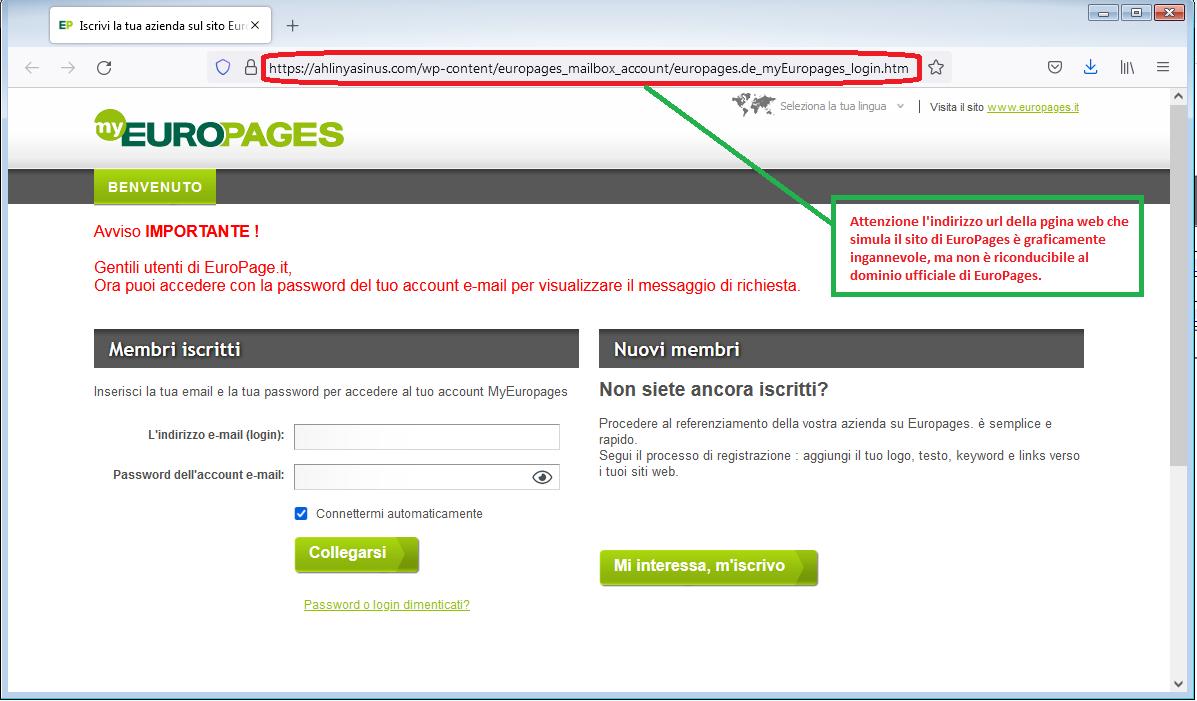 Clicca per ingrandire l'immagine del falso sito di EuroPages, che cerca di rubare le credenziali di accesso all'account..