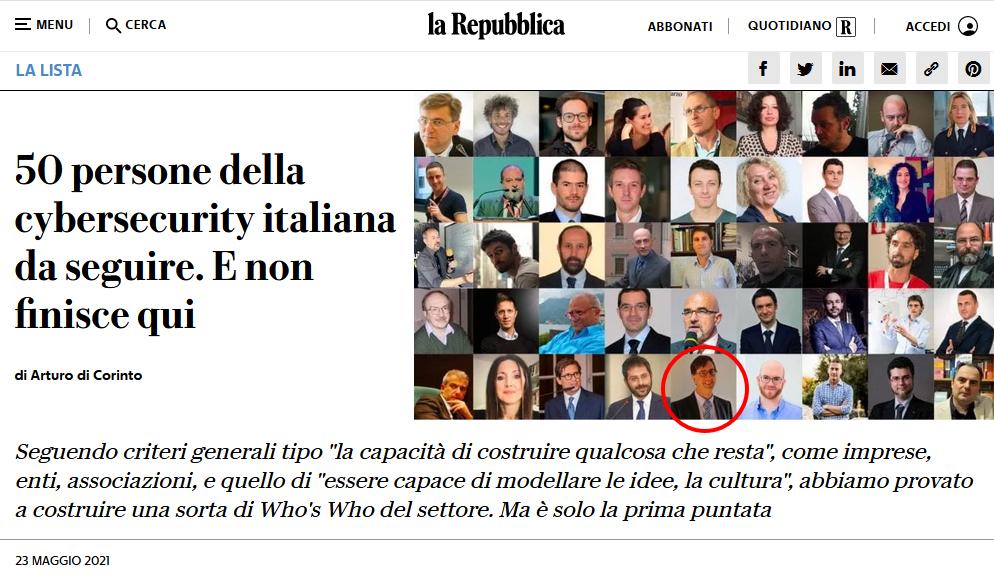Dall'articolo de ''La Repubblica'' <<50 persone della CyberSecurity italiana da seguire>> presente anche Gianfranco Tonello, CEO di TG Soft.