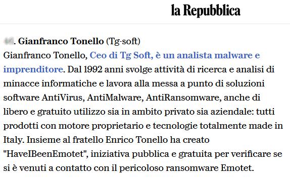 Anche Gianfranco Tonello, CEO di TG Soft presente nell'articolo de ''La Repubblica'' tra i Top50 da seguire nell'ambito CyberSecurity