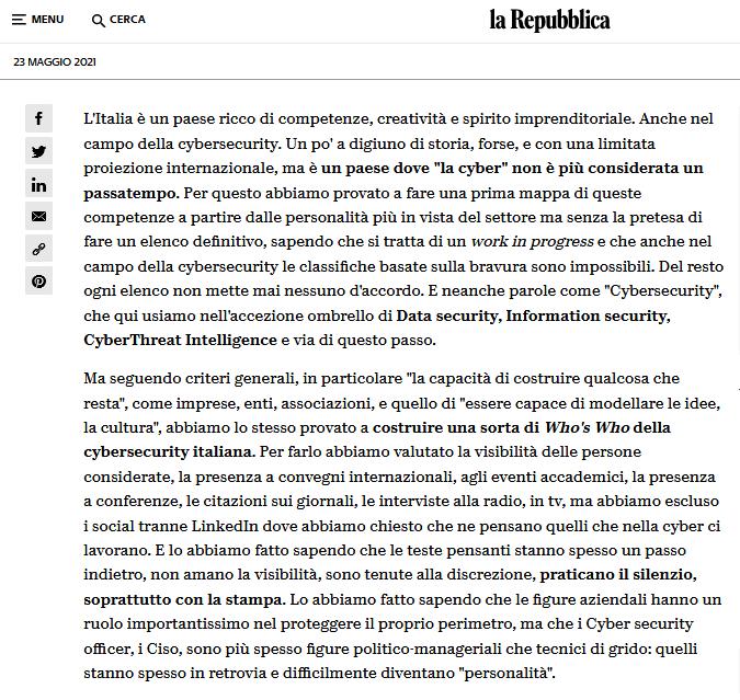 """Clicca per ingrandire l'articolo de """"La Repubblica"""" <<50 persone della CyberSecurity italiana da seguire>>"""