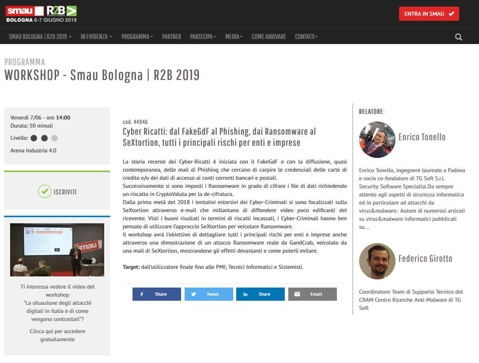 Clicca per accedere alla pagina del Workshop sul sito di SMAU...