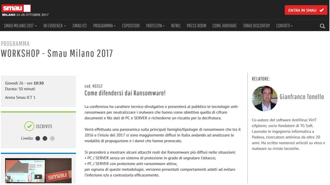 """Clicca qui per partecipare al Workshop """"Come difendersi dai Ransomware"""""""