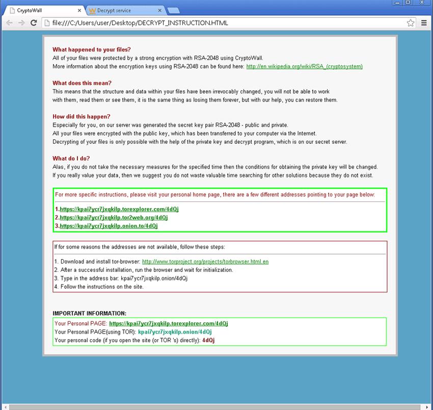Videata dopo crittografazione file da attacco CryptoWall