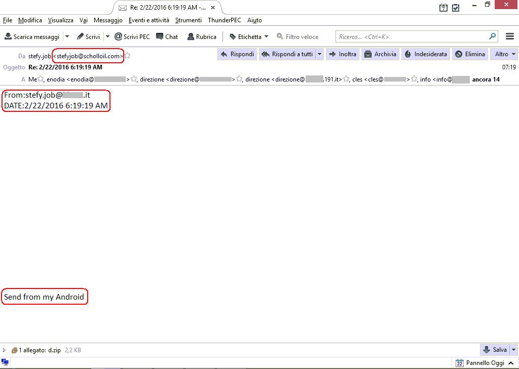 Clicca per ingrandire l'immagine di falsa email infetta che, se eseguito l'allegato, scatena TeslaCrypt 3.0