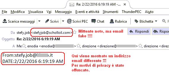 Clicca per ingrandire l'immagine della falsa email infetta con evidenziato l'indirizzo del mittente farlocco