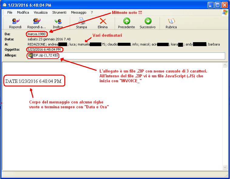 Clicca per ingrandire l'immagine di un esempio di email infetta che, se eseguito l'allegato, scatena TeslaCrypt 3.0