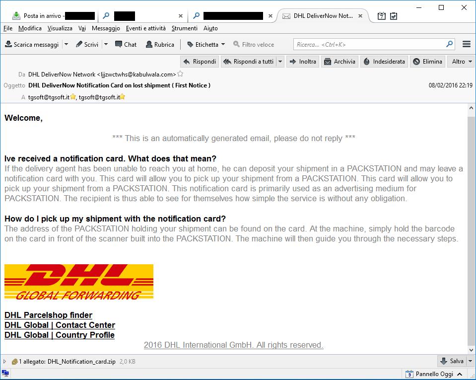 Clicca per ingrandire l'immagine di falsa email DHL infetta che, se eseguito l'allegato, scatena TeslaCrypt 3.0