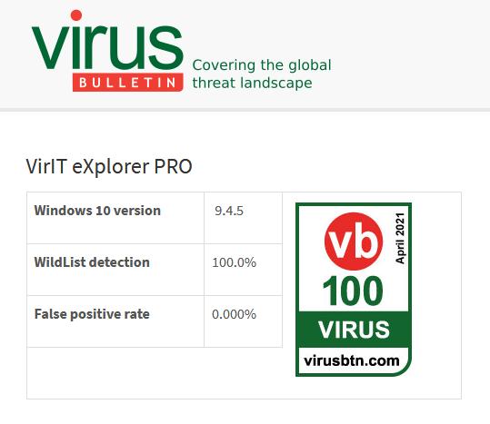 VB100 Risultato del test di aprile 2021 => Clicca per ingrandire
