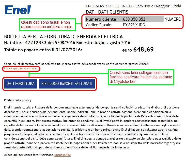 Falsa e-mail di ENEL che diffonde nuove varianti di Cryptolocker.