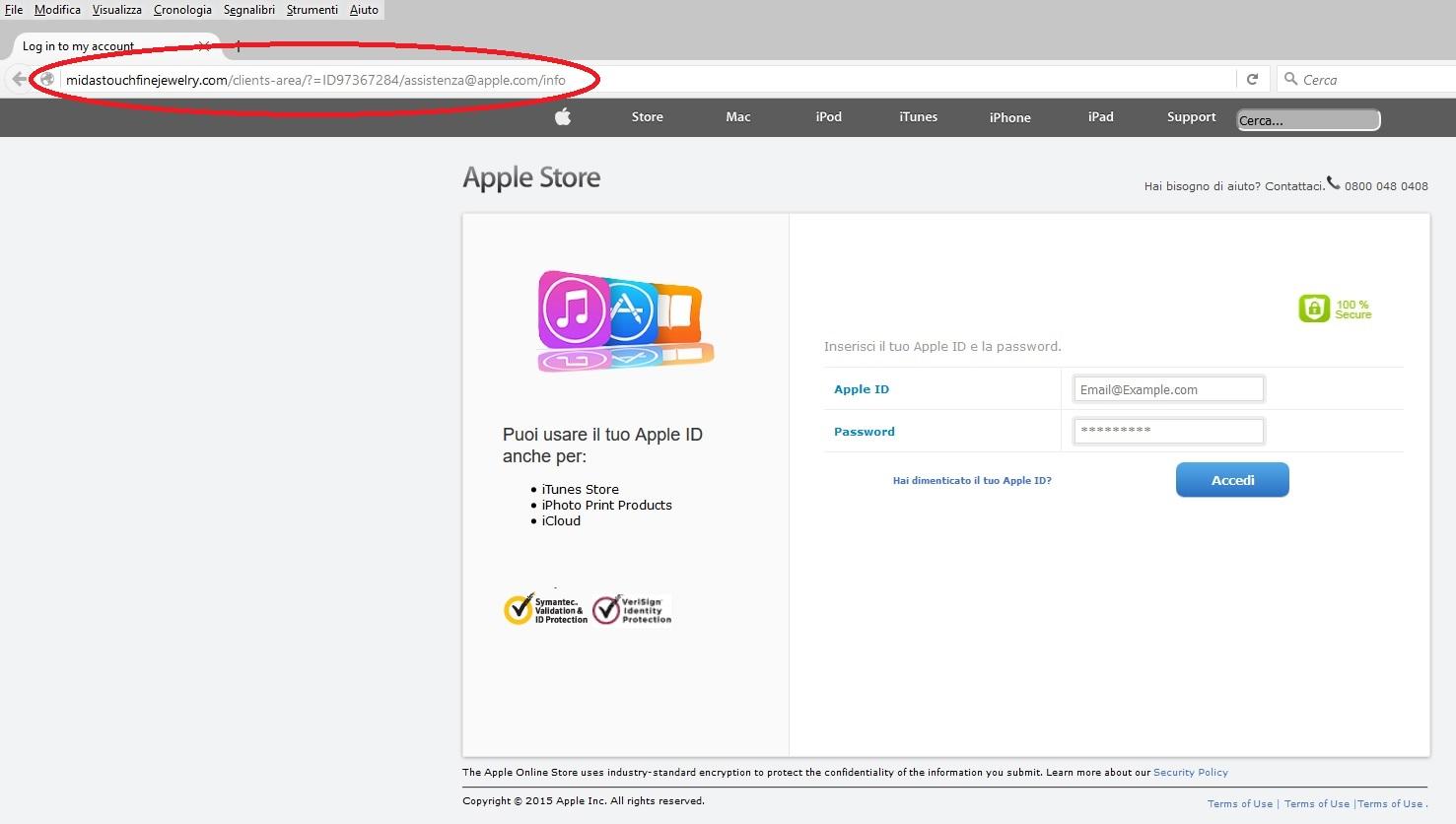 Clicca per ingrandire l'immagine della Falsa pagina di Accesso all'APPLE Store
