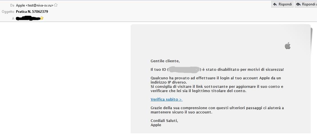Clicca per ingrandire l'immagine della Falsa e-mail di APPLE che cerca di rubare le credenziali di accesso all'APPLE Store