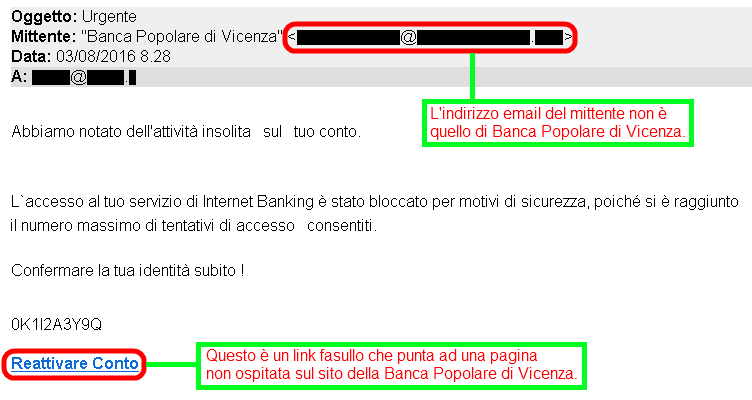 Clicca per ingrandire l'immagine della falsa e-mail di Banca Popolare di Vicenza, che cerca di rubare le credenziali del conto corrente online.