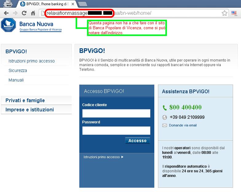 Clicca per ingrandire l'immagine della falso sito di Banca Popolare di Vicenza, che cerca di rubare le credenziali del conto corrente online.